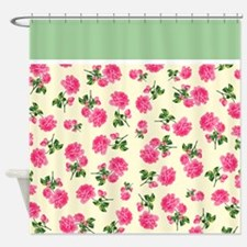 Hot Pink Rose Floral Pattern on White Shower Curta