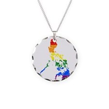 Philippines Rainbow Pride Flag And Map Necklace