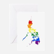 Philippines Rainbow Pride Flag And Map Greeting Ca
