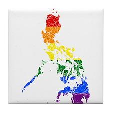 Philippines Rainbow Pride Flag And Map Tile Coaste