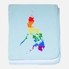 Philippines Rainbow Pride Flag And Map baby blanke