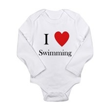 i love swimming heart Long Sleeve Infant Bodysuit