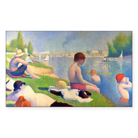Seurat - Bathers Sticker (Rectangle)