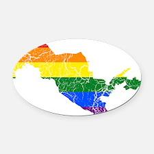 Uzbekistan Rainbow Pride Flag And Map Oval Car Mag