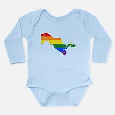 Uzbekistan Rainbow Pride Flag And Map Long Sleeve
