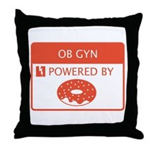 OB GYN Powered by Doughnuts Throw Pillow