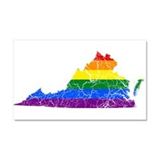 Virginia Rainbow Pride Flag And Map Car Magnet 20