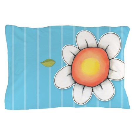 Daisy Joy blue right Pillow Case