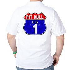 Pit Bull Highway Sign Design T-Shirt