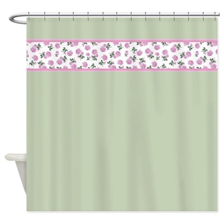 shabby chic pink floral shower curtain by inspirationzstore