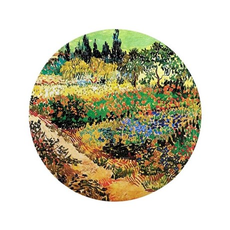 """Flowering Garden with Path 3.5"""" Button (100 pack)"""