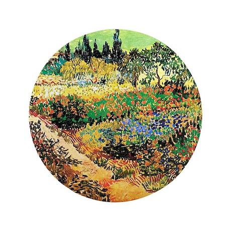 "Flowering Garden with Path 3.5"" Button"