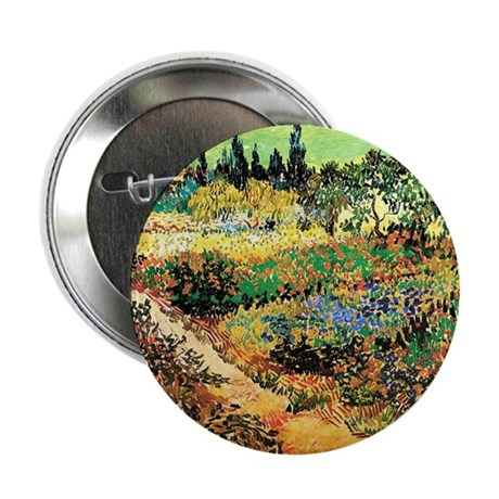 """Flowering Garden with Path 2.25"""" Button (10 pack)"""