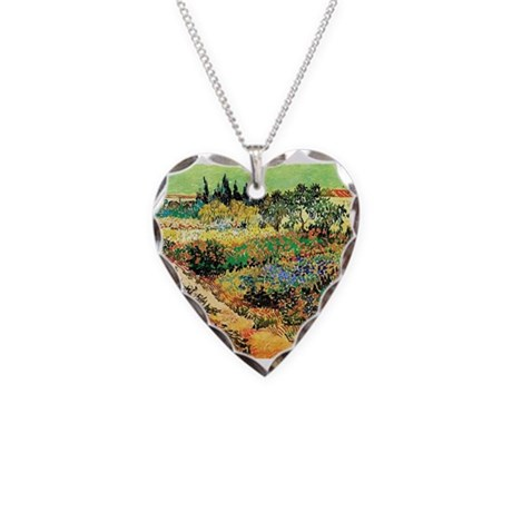 Flowering Garden with Path Necklace Heart Charm