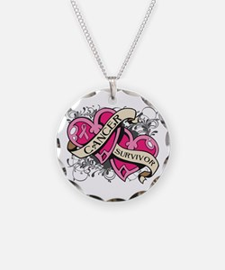 Heart Breast Cancer Survivor Necklace Circle Charm
