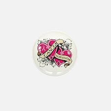 Heart Breast Cancer Survivor Mini Button (10 pack)