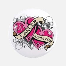 """Heart Breast Cancer Survivor 3.5"""" Button"""