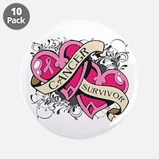 """Heart Breast Cancer Survivor 3.5"""" Button (10 pack)"""