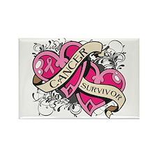 Heart Breast Cancer Survivor Rectangle Magnet
