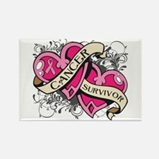 Heart Breast Cancer Survivor Rectangle Magnet