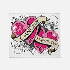 Heart Breast Cancer Survivor Throw Blanket