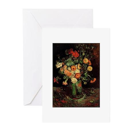 Vase with Zinnias and Geraniums by Van Gogh Greeti