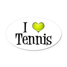 I Heart Tennis Oval Car Magnet