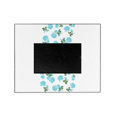 Baby blue shabby chic flower pattern Picture Frame