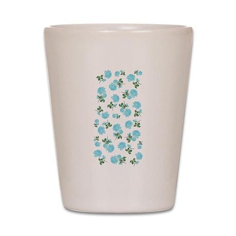 Baby blue shabby chic flower pattern Shot Glass