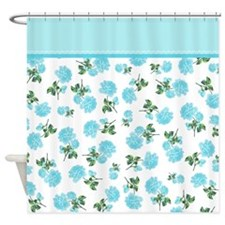 Baby blue shabby chic flower pattern Shower Curtai
