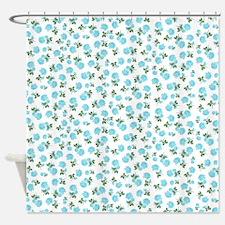 Baby blue shabby chic flower pattern Shower Curtai
