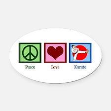 Peace Love Karate Oval Car Magnet