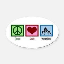 Peace Love Wrestling Oval Car Magnet
