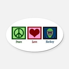 Peace Love Hockey Oval Car Magnet