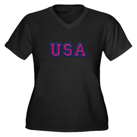 USA Logo Women's Plus Size V-Neck Dark T-Shirt