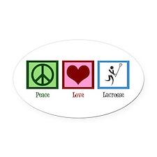 Peace Love Lacrosse Oval Car Magnet