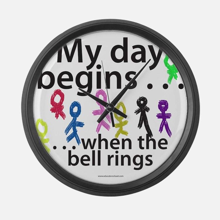 mydaybegins.png Large Wall Clock
