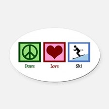 Peace Love Ski Oval Car Magnet