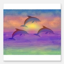 "Dolphin Dream Square Car Magnet 3"" x 3"""