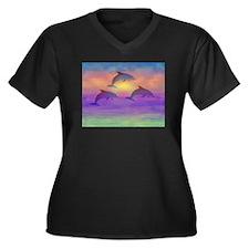 Dolphin Dream Women's Plus Size V-Neck Dark T-Shir