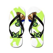 Brittany Lime Camo Flip Flops