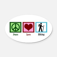 Peace Love Hiking Oval Car Magnet