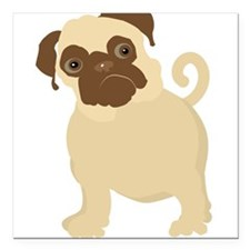 """hungryPugBlack.png Square Car Magnet 3"""" x 3"""""""