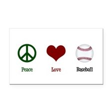 Peace Love Baseball Rectangle Car Magnet