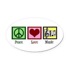 Peace Love Music Oval Car Magnet