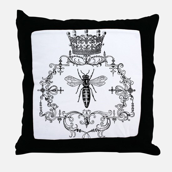 Vintage Queen Bee Throw Pillow