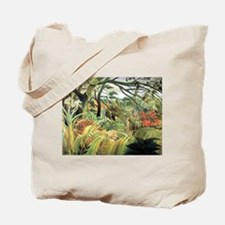 Henri Rousseau tiger in a tropical storm Tote Bag