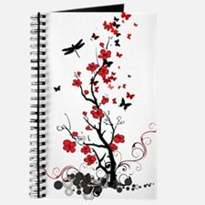 Black and Red Flowers Journal
