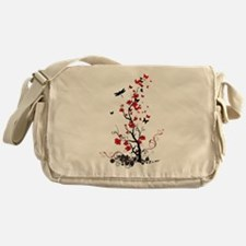 Black and Red Flowers Messenger Bag