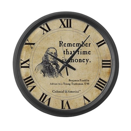 Benjamin Franklin Large Wall Clock - Time is Money